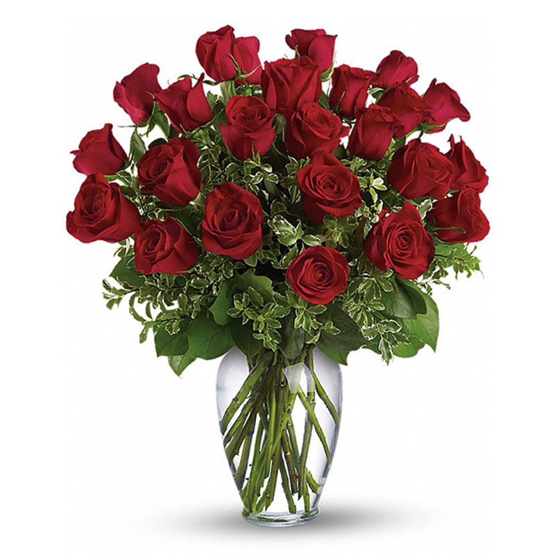 2 Dozen Red Roses in a clear glass vase